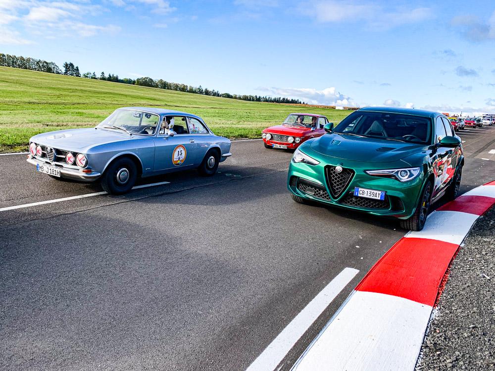 foto pista e piloti grand premio alfa romeo event Stelvio gt bertone
